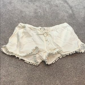 J.crew factory white shorts with pom poms